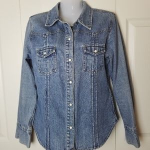 Vintage Acid Wash Pearl Snap Denim Jean Jacket L